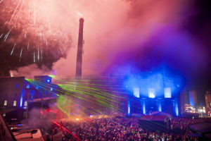 Braufest der Sinne, Landskronbrauerei in Goerlitz 2013. Feuerwerk und Lasershow am Abend. Foto: Pawel Sosnowski